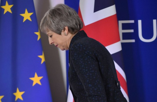 TOPSHOT - British Prime Minister Theresa May walks after holding a press conference on March 22, 2019, on the first day of an EU summit focused on Brexit, in Brussels. - European Union leaders meet in Brussels on March 21 and 22, for the last EU summit before Britain's scheduled exit of the union. (Photo by Emmanuel DUNAND / AFP)EMMANUEL DUNAND/AFP/Getty Images