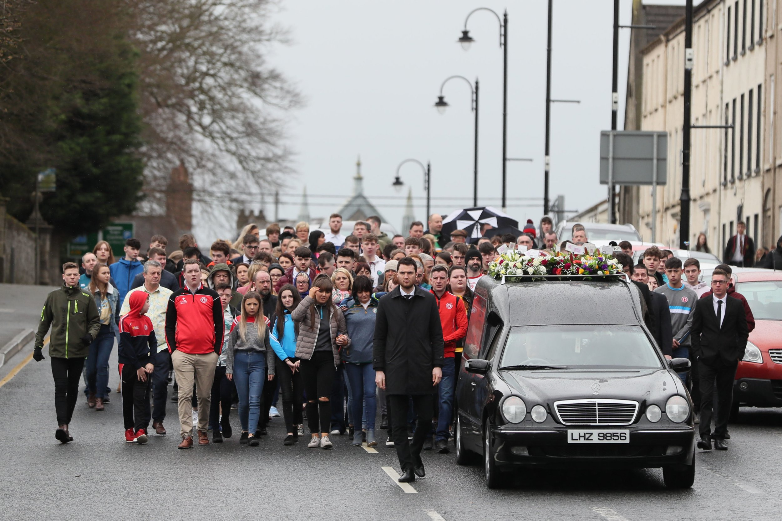 The funeral cortege arriving at St Patrick's Church, Dungannon for the funeral of Morgan Barnard. PRESS ASSOCIATION Photo. Picture date: Friday March 22, 2019. Teenagers Lauren Bullock, Connor Currie and Morgan Barnard died after a crush at the Greenvale Hotel in Cookstown, Co Tyrone, on Sunday. See PA story ULSTER Cookstown. Photo credit should read: Brian Lawless/PA Wire