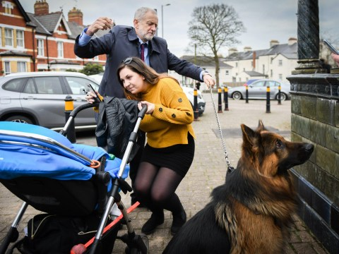 Jeremy Corbyn gets himself into a tangle as Acer the Alsatian makes a run for it