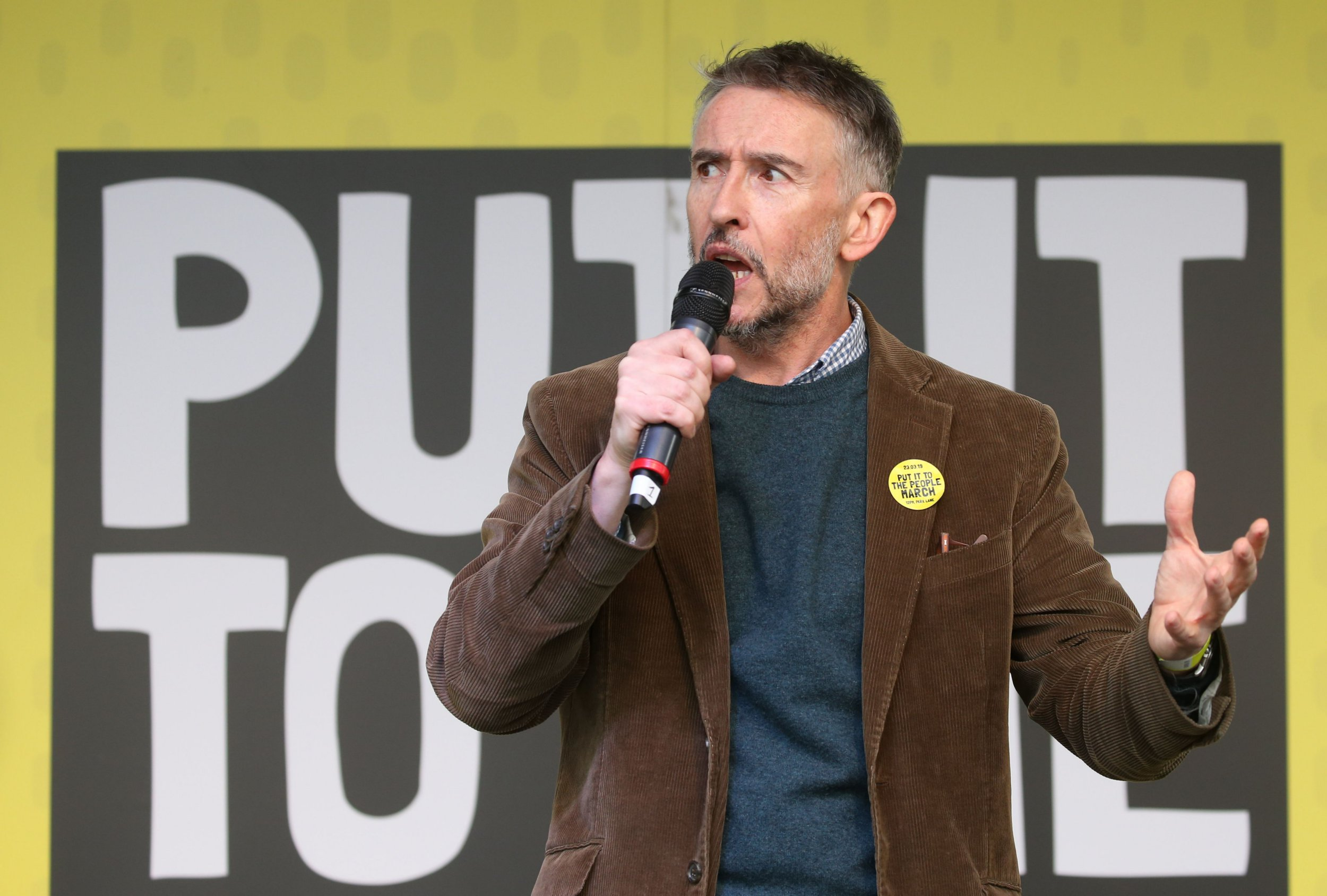 British actor and comedian Steve Coogan speaks at a rally organised by the pro-European People's Vote campaign for a second EU referendum in Parliament Square, central London on March 23, 2019. - Hundreds of thousands of pro-Europeans from across Britain were expected to march through London on Saturday calling for another referendum on EU membership with the country mired in political paralysis over Brexit. (Photo by Isabel INFANTES / AFP)ISABEL INFANTES/AFP/Getty Images