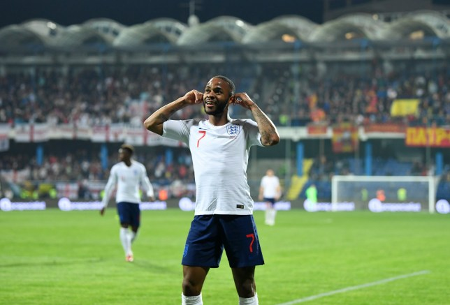 PODGORICA, MONTENEGRO - MARCH 25: Raheem Sterling of England celebrates after scoring his team's fifth goal during the 2020 UEFA European Championships Group A qualifying match between Montenegro and England at Podgorica City Stadium on March 25, 2019 in Podgorica, Montenegro. (Photo by Michael Regan/Getty Images)