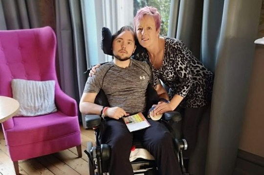 """I wouldn't wish this on anyone."" These are the first words from Joe Shaw, 25, who has been robbed of his ability to walk or talk following an unprovoked attack. Caption: Joe Shaw and his mum Nancy Shaw"