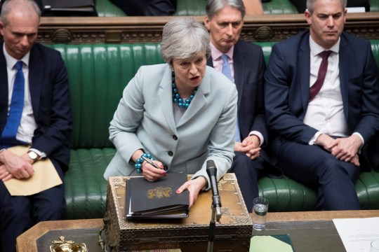 British Prime Minister Theresa May speaks in Parliament in London, Britain March 25, 2019, ??UK Parliament/Jessica Taylor/Handout via REUTERS ATTENTION EDITORS - THIS IMAGE HAS BEEN SUPPLIED BY A THIRD PARTY.