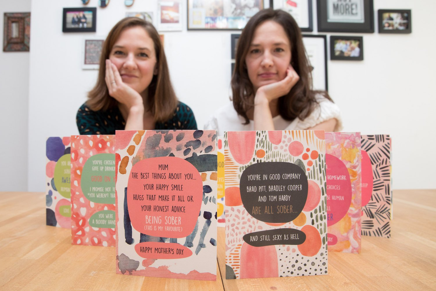 (from right) Sara Bender and Lucy Wilkins with their Sober greeting cards at their home in Holborn, Central London. The cards look to celebrate people's efforts in sobriety which is often overlooked by many card companies. TRIANGLE NEWS 0203 176 5587 // contact@trianglenews.co.uk By Rosaleen Fenton With pix A GREETING card firm has started selling Mother?s Day cards for children to give mums who have given up booze. Founders Lucy Wilkins and Sara Bender run card and gift brand We Are In Good Company which sells cards celebrating sobriety. Many outlets, including high street stalwarts, sell cards featuring messages like ?For my boozy mum. Mother's day delight. *Full copy available via Triangle News*