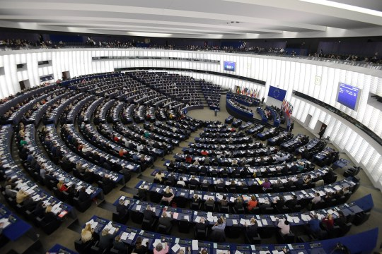 Members of the European Parliament take part in a voting session during a plenary session at the European Parliament on March 26, 2019 in Strasbourg, eastern France. - The European Parliament on Tuesday adopted controversial copyright reforms championed by news publishers and the music business, delivering a blow to the tech giants that lobbied furiously against it. (Photo by FREDERICK FLORIN / AFP) (Photo credit should read FREDERICK FLORIN/AFP/Getty Images)