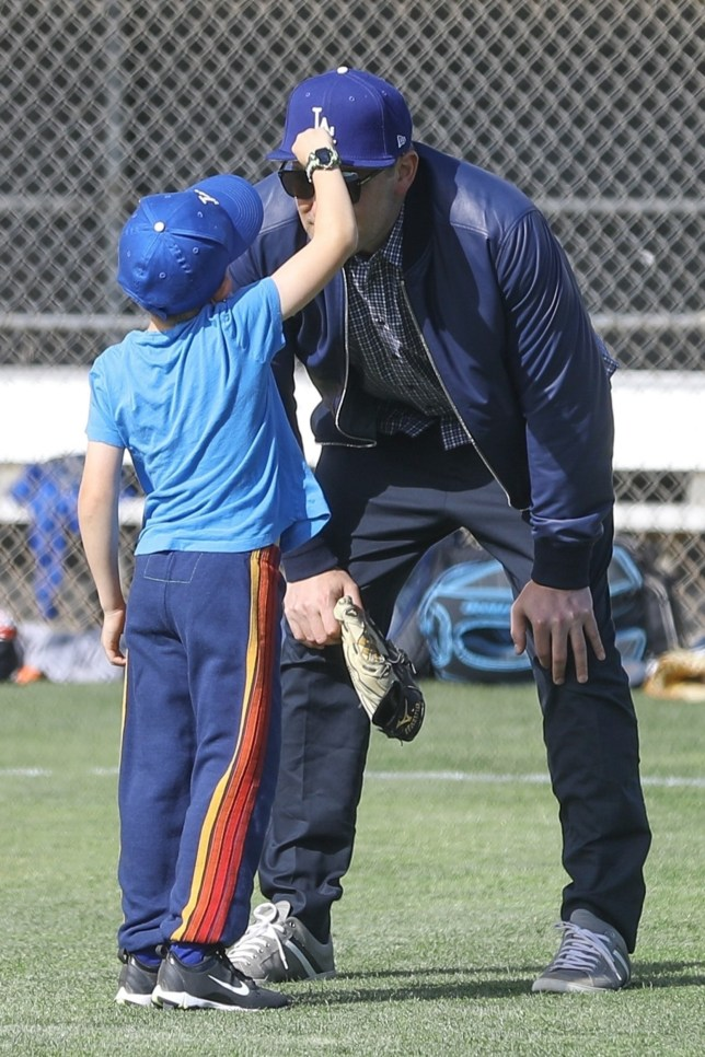 *EXCLUSIVE* Santa Monica, CA - Ben Affleck makes another visit to his son's baseball practice. The actor supports little Samuel when he gets down and gives him a pep talk. Then he throws some balls to get him back in spirits. ]\\ Pictured: Ben Affleck, Samuel Garner Affleck BACKGRID USA 27 MARCH 2019 BYLINE MUST READ: LESE / BACKGRID USA: +1 310 798 9111 / usasales@backgrid.com UK: +44 208 344 2007 / uksales@backgrid.com *UK Clients - Pictures Containing Children Please Pixelate Face Prior To Publication*
