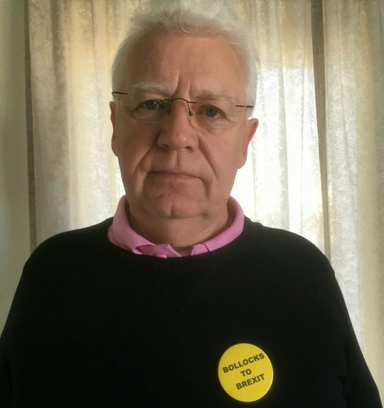 """Eddie Brinsmeads-Stockham, 65, wearing the ?Bollocks to Brexit? badge he claims provoked immigration officers to confiscate his passport at Gatwick airport.See National News story NNbadge.A proud Remainer claimed he had his passport taken away by immigration officers for wearing a """"Bollocks to Brexit"""" badge at the airport.Eddie Brinsmead-Stockham was passing through Gatwick after a short golfing trip in Portugal when he was stopped by am """"abrupt"""" Home Office official.The 65-year-old said the man asked him to remove his badge which said """"Bollocks to Brexit"""" because he found it offensive.When Eddie refused, he was taken to a holding area """"on the wrong side of immigration"""" and had his passport taken away."""