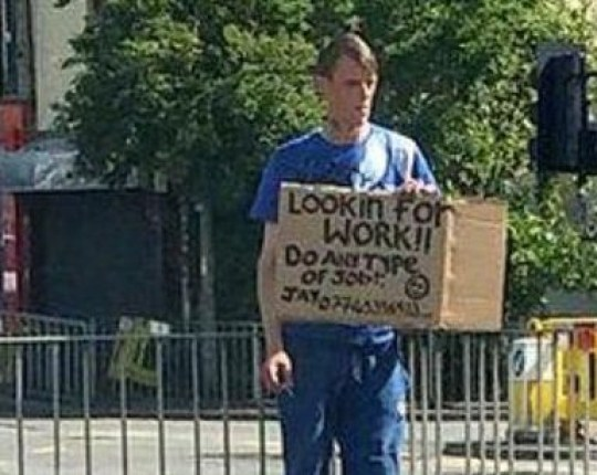 A man who hit headlines after standing at the side of the road with a sign asking for a job has been jailed for stealing money from elderly women. Caption: Jason Allen