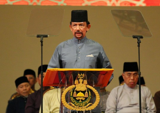 BANDAR SERI BEGAWAN, Brunei - Brunei Sultan Hassanal Bolkiah announces the introduction of the sharia law penal code to the Southeast Asia country in its capital of Bandar Seri Begawan on April 30, 2014. (Photo by Kyodo News via Getty Images)