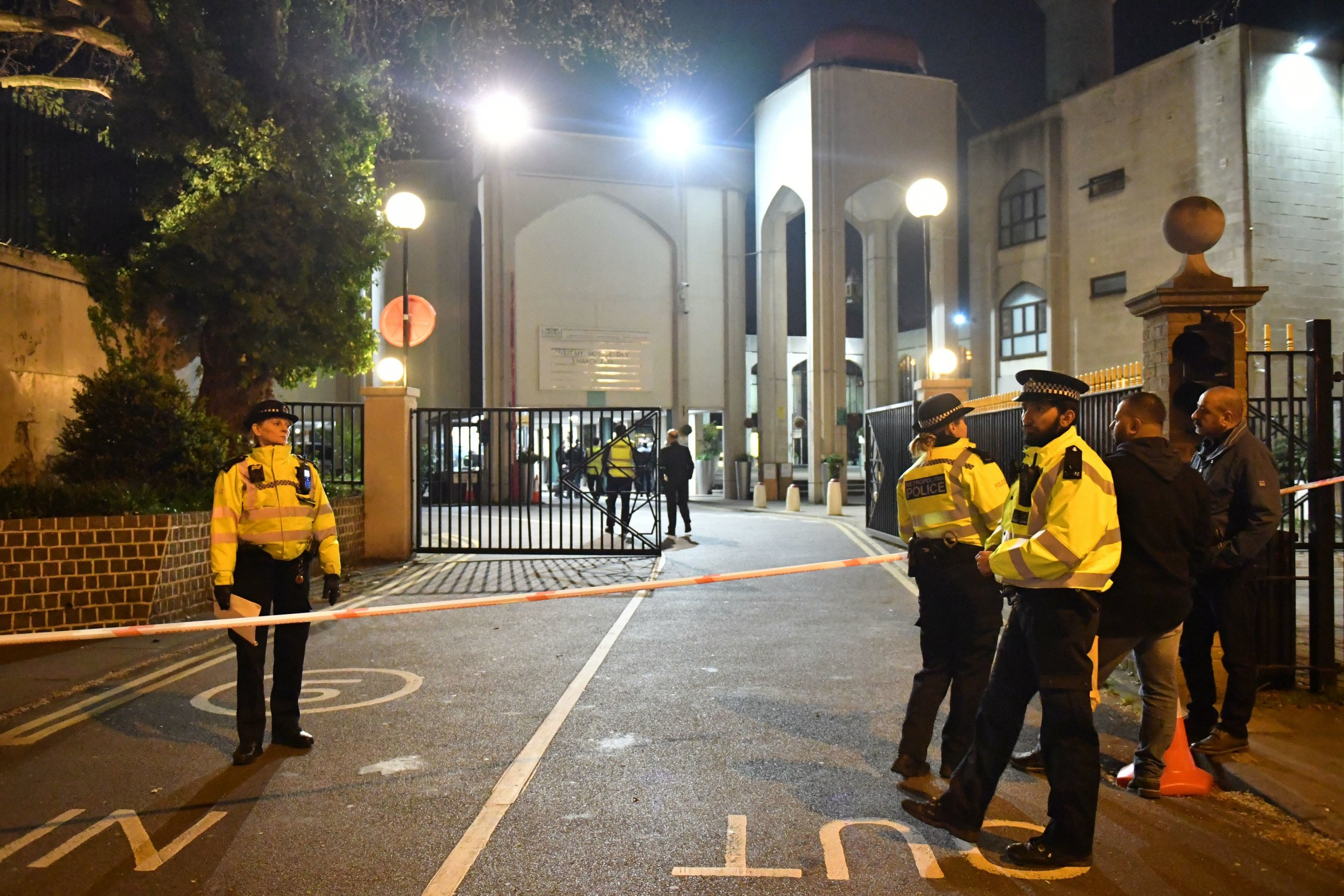 Police activity outside the London Central Mosque, near Regent's Park, London after a man was found with stab injuries in a nearby street. PRESS ASSOCIATION Photo. Picture date: Thursday March 28, 2019. The Metropolitan Police said a man was found with stab wounds in Elmton Court, Cunningham Place, Westminster, at about 6.15pm on Thursday. A spokeswoman for the force confirmed the incident is linked to a police raid at the nearby mosque. See PA story POLICE Cunningham. Photo credit should read: Dominic Lipinski/PA Wire