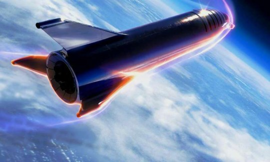 Take a look at Elon Musk's inflamed rocket entering Earth's atmosphere Provider: SpaceX Source: https://phys.org/news/2019-03-spacex-all-steel-starship-earth.html