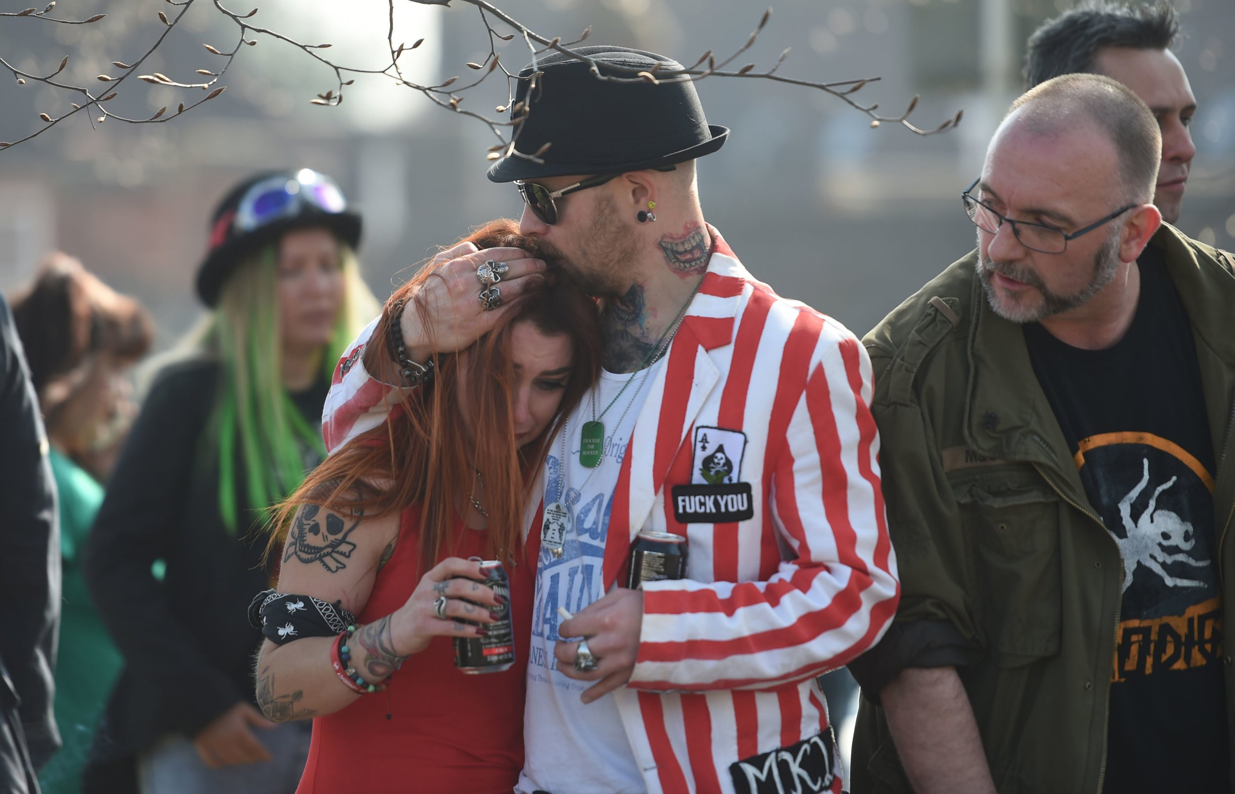 Fans of Keith Flint fill the streets of Braintree as the late singer's funeral procession makes its way to St Mary's Church in Bocking, Essex. PRESS ASSOCIATION Photo. Picture date: Friday March 29, 2019. See PA story FUNERAL Flint. Photo credit should read: Joe Giddens/PA Wire