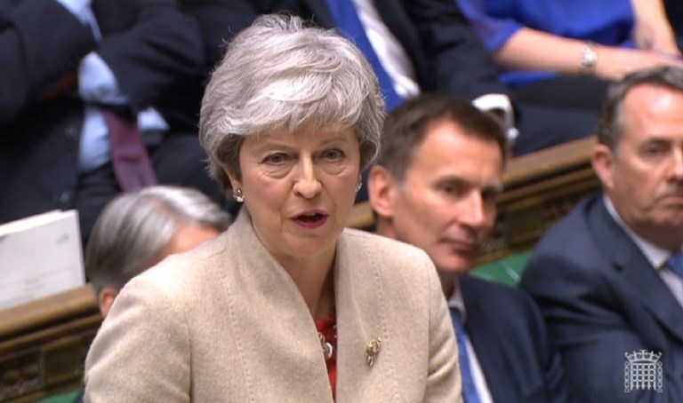 epa07471028 A grab from a handout video made available by the UK Parliamentary Recording Unit shows British Prime Minister Theresa May in the British House of Commons at Westminster, central London, Britain, 29 March 2019. Members of Parliament are due to vote on the withdrawal agreement on the day the UK was supposed to be leaving the EU EPA/UK PARLIAMENTARY RECORDING UNIT / HANDOUT MANDATORY CREDIT: UK PARLIAMENTARY RECORDING UNIT HANDOUT EDITORIAL USE ONLY/NO SALES
