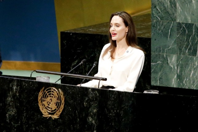 Actor and UNHCR Special Envoy Angelina Jolie addresses a U.N. ministerial meeting on peacekeeping at U.N. headquarters in New York, U.S., March 29, 2019. REUTERS/Eduardo Munoz