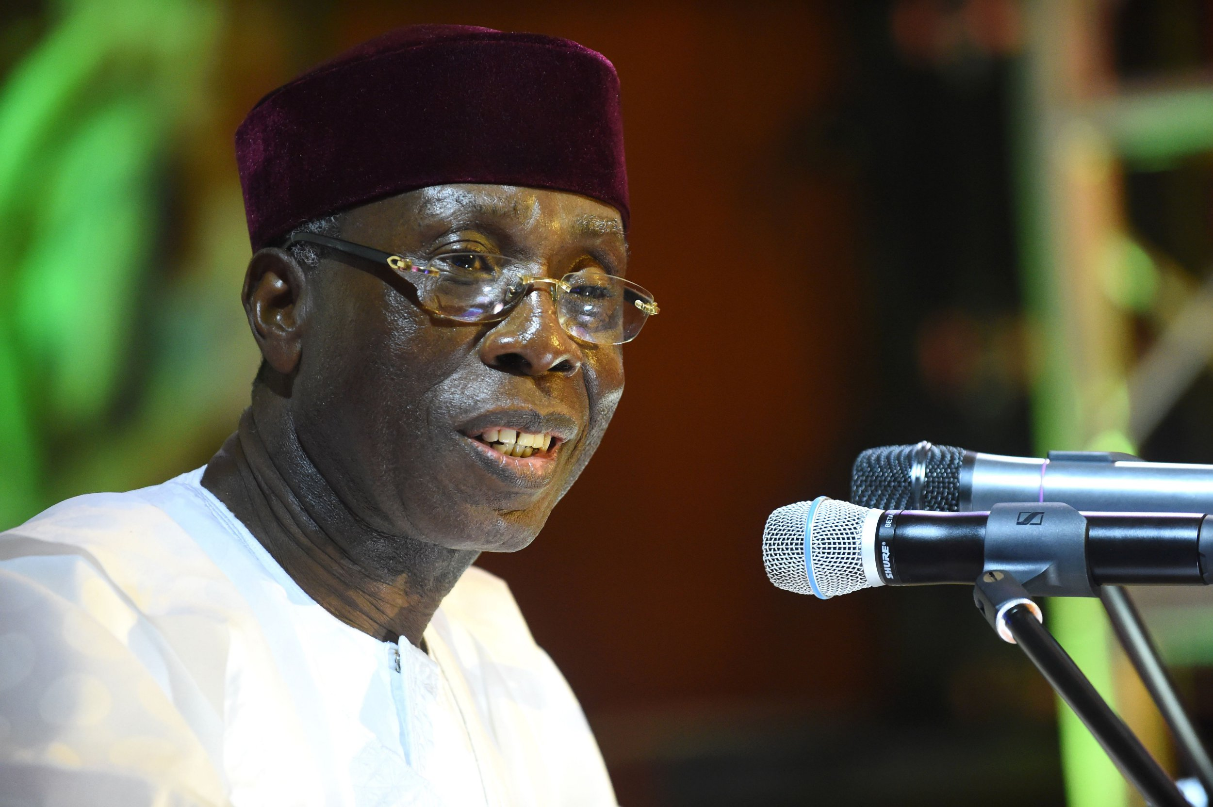 Nigerian Minister of Agriculture Audu Ogbeh speaks during the 50th anniversary of the International Institute for Tropical Agriculture (IITA) in Ibadan, Oyo State in southwest Nigeria, on July 24, 2017. The International Institute for Tropical Agriculture (IITA) celebrated its 50 years of research achievements in addressing Africas most pressing challenges of hunger, malnutrition, poverty, and natural resource degradation with a view to improving livelihoods, enhance food and nutrition security across the continent. / AFP PHOTO / PIUS UTOMI EKPEI (Photo credit should read PIUS UTOMI EKPEI/AFP/Getty Images)