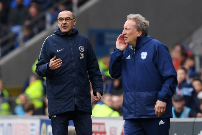 CARDIFF, WALES - MARCH 31: Maurizio Sarri, Manager of Chelsea and Neil Warnock, Manager of Cardiff City gives their team instructions during the Premier League match between Cardiff City and Chelsea FC at Cardiff City Stadium on March 31, 2019 in Cardiff, United Kingdom. (Photo by Darren Walsh/Chelsea FC via Getty Images)