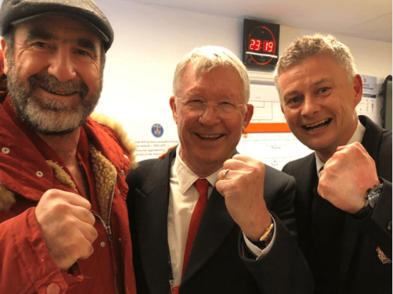 Sir Alex Ferguson celebrated with Manchester United squad in dressing room after PSG win