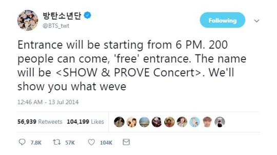 BTS tweet in 2014 shows how far they've come as they sell out