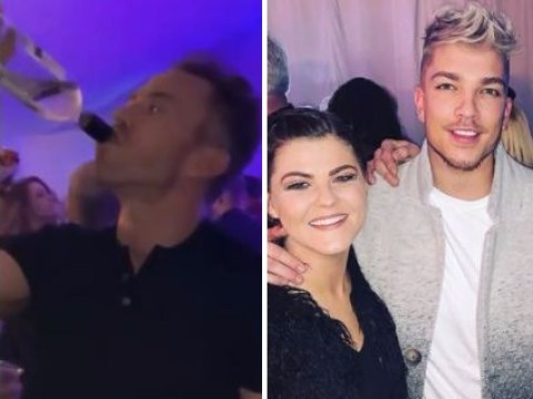 Dancing On Ice champ James Jordan downs wine from the bottle at raucous wrap party