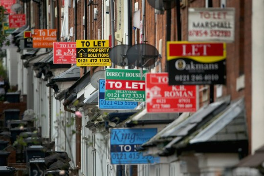 BIRMINGHAM, UNITED KINGDOM - OCTOBER 14: An array of To Let and For Sale signs protrude from houses in the Selly Oak area of Birmingham on October 14, 2014 in Birmingham, United Kingdom. The ONS (Office for National Statistics) have released details of it's findings showing the north-south divide in house prices is the biggest in history. Properties in the London area are nearly 3.5 times more expensive than homes in the north-east of England. (Photo by Christopher Furlong/Getty Images)
