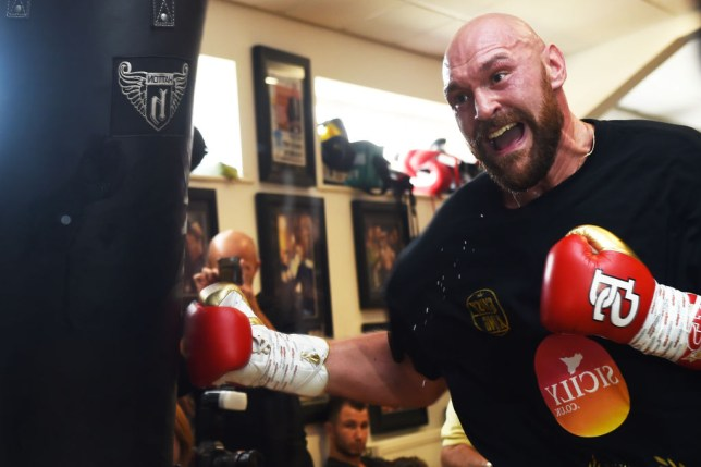 Tyson Fury punches the body bag in training