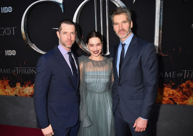 Dan Weiss (left) and David Benioff with star Emilia Clarke at the Game Of Thrones season eight premiere in New York
