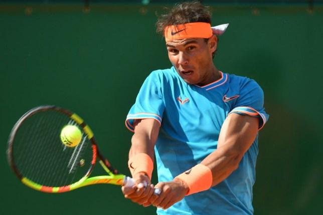 Nadal hitting the ball