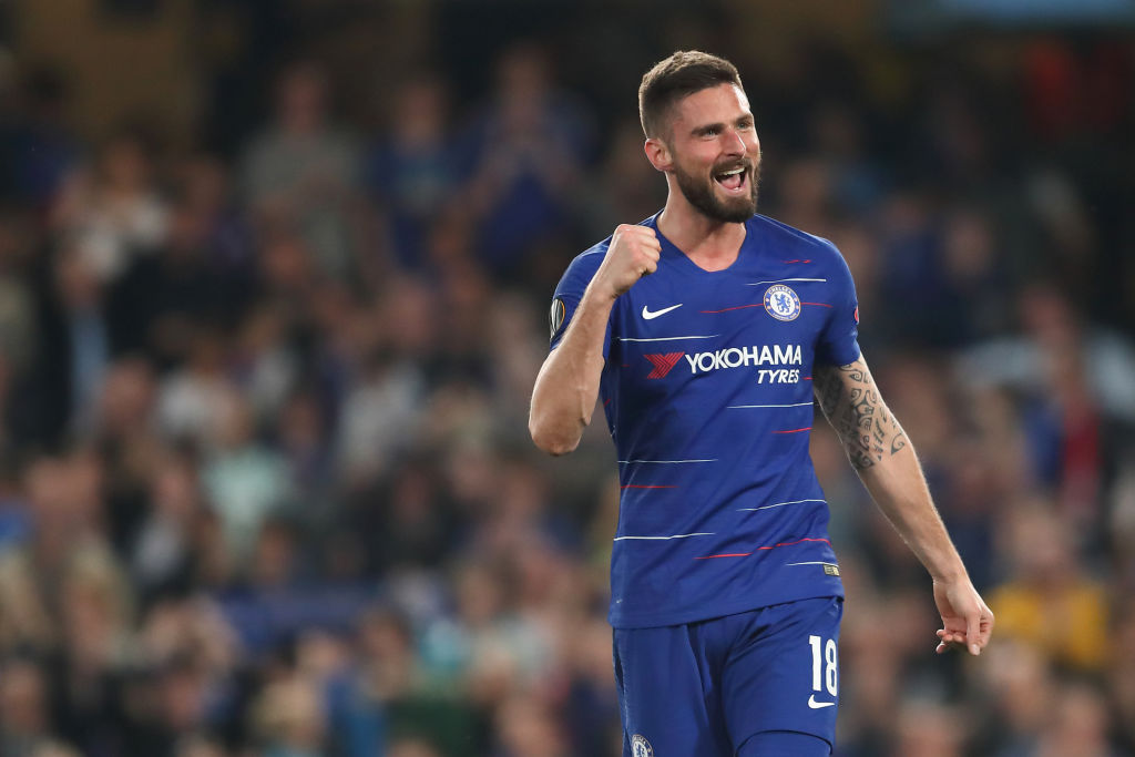 Olivier Giroud sets Chelsea record with Europa League goal against Slavia Prague