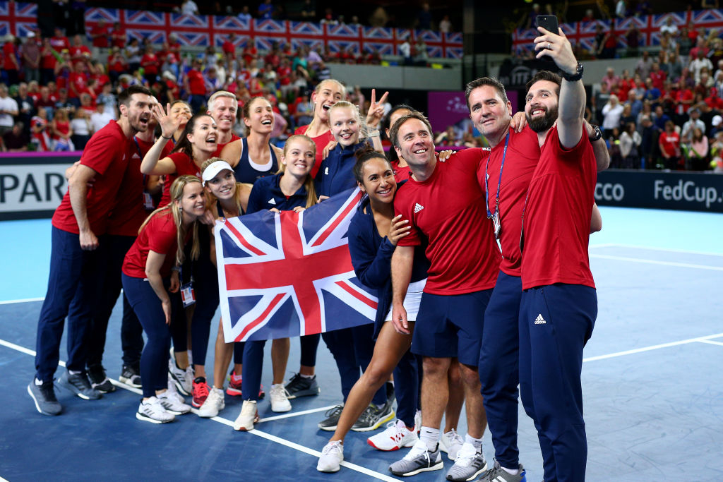 The British Fed Cup team celebrate with a selfie