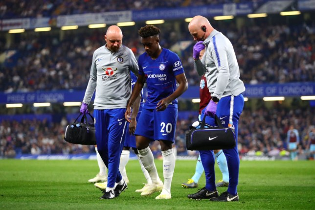 Callum Hudson-Odoi is helped off the pitch