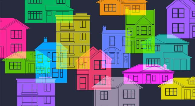 Silhouettes of houses illustration