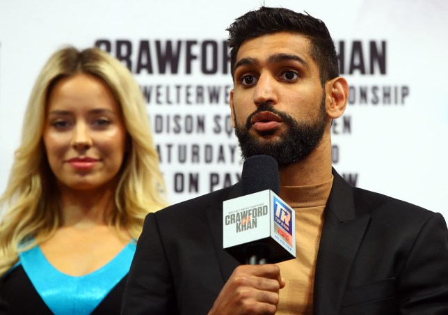 Crawford Amir Khan face off at press conference (Picture: Mikey Williams/Top Rank)