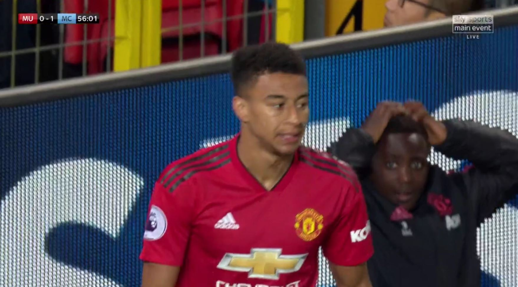 Manchester United's ball boy was shocked by Jesse Lingard's close-range miss against Manchester City