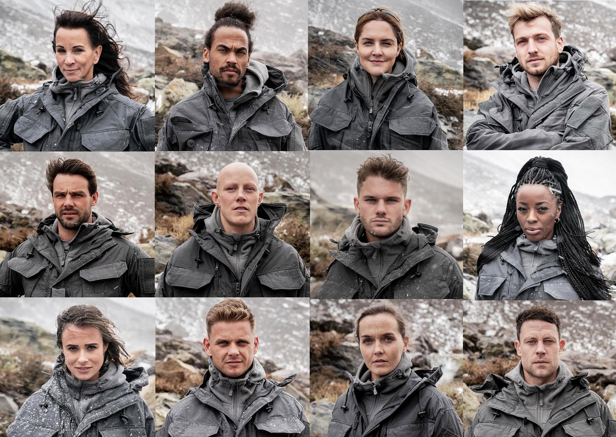 Celebrity SAS cast including Andrea McClean, Dev Griffin, Louise Mensch, Sam Thompson, Ben Foden, Heather Fisher, Jeremy Irvine, AJ Odudu, Camilla Thurlow, Jeff Brazier, Victoria Pendleton and Wayne Bridge