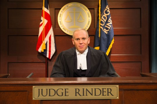 Television Programme: Judge Rinder with Richard Rinder. Pictured: ITV Rob Rinder is an exceptional British barrister who has instructed some of the most high profile cases of recent years, including the New Year?s Eve shootings of Leticia Shakespeare and Charlene Ellis and the manslaughter of Iraqi detainees by British soldiers. In his brand new second series for ITV Daytime, Judge Rinder is bringing the action of a courtroom to television and bringing justice to those who?ve been wronged. He will adjudicate over real, small-claim cases in a studio courtroom. Each programme will see up to three different cases brought to Judge Rinder who will hear each case, question the claimant and defendant, assess the evidence and make a judgement on each case with a variety of cases for each show. Judge Rinder reserves the right to throw the case, and the people, out of his court! ? ITV For further information please contact Peter Gray 0207 157 3046 peter.gray@itv.com This photograph is ? ITV and can only be reproduced for editorial purposes directly in connection with the programme Judge Rinder or ITV. Once made available by the ITV Picture Desk, this photograph can be reproduced once only up until the Transmission date and no reproduction fee will be charged. Any subsequent usage may incur a fee. This photograph must not be syndicated to any other publication or website, or permanently archived, without the express written permission of ITV Picture Desk. Full Terms and conditions are available on the website www.itvpictures.com