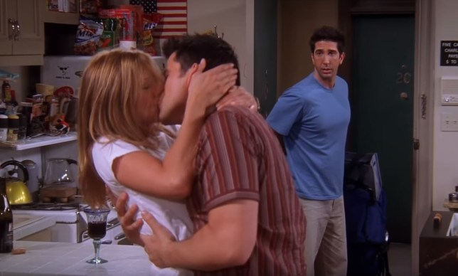 Rachel and Joey kissing on Friends