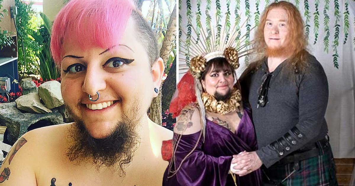 Bearded woman who thought she would never find love marries in Christian-Satanist ceremony