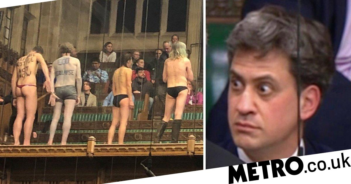 Ed Milibands goggle-eyed reaction to naked protesters in