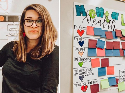 Teacher introduces mental health check in board so students can share their feelings