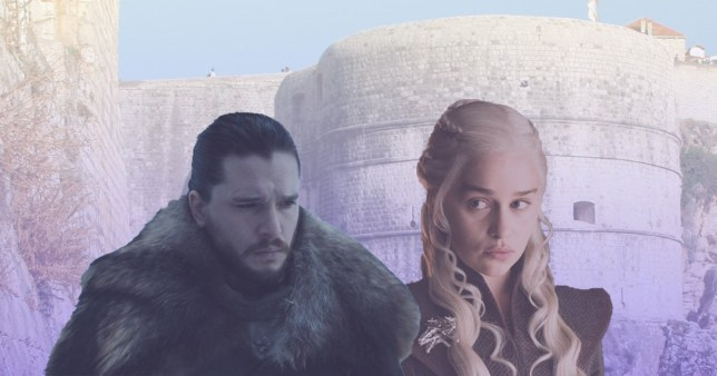 jon snow and daenerys in front of the walls of dubrovnik in croatia