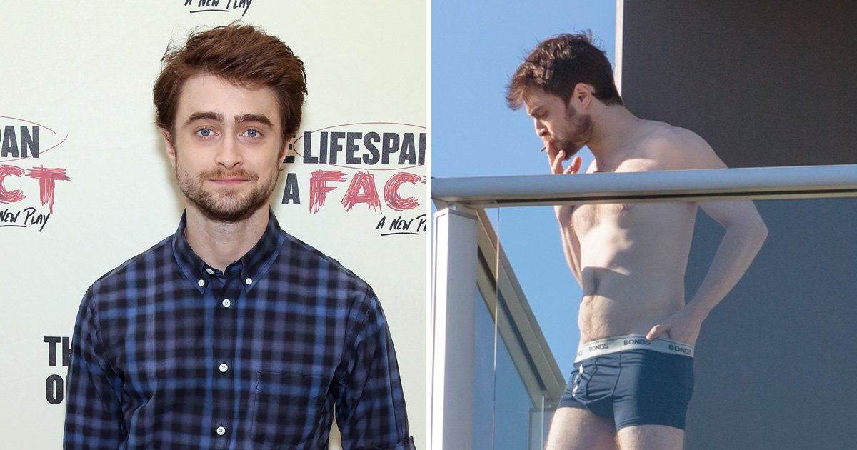 Daniel Radcliffe puffs on a cigarette in his pants as he takes a break from filming in Australia