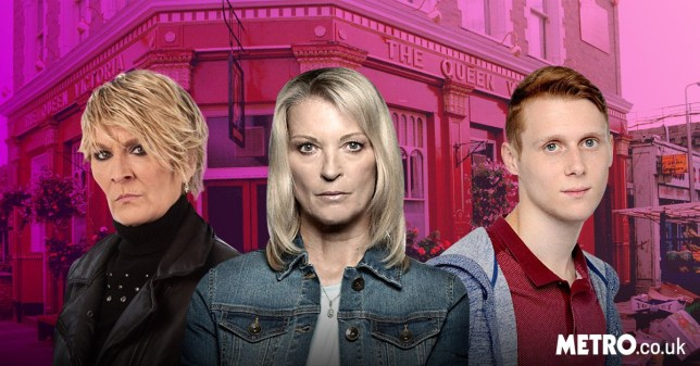 EastEnders characters Shirley Carter, Jay Mitchell and Kathy Beale