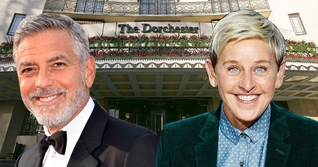 George Clooney and Ellen DeGeneres in front of The Dorchester hotel
