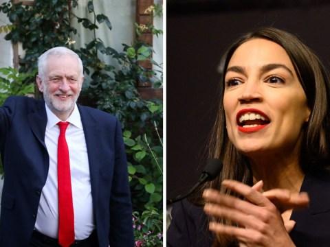 Jeremy Corbyn gives gardening tips to Alexandria Ocasio-Cortez