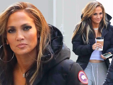 Jennifer Lopez sports fake face bling on the set of stripper movie Hustlers