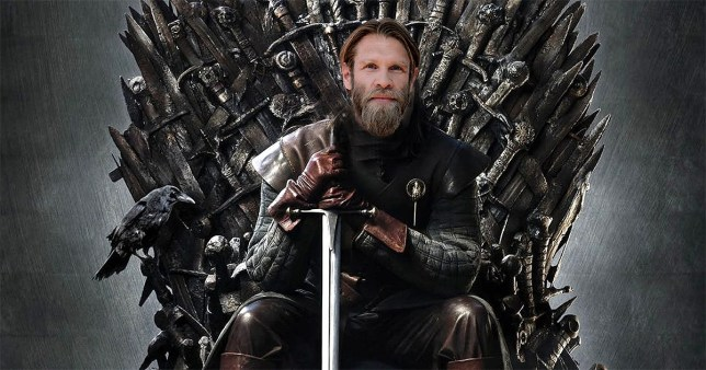Marc Rissmann face on top of Ned Stark sitting on the Iron Throne and holding a sword in Game of Thrones