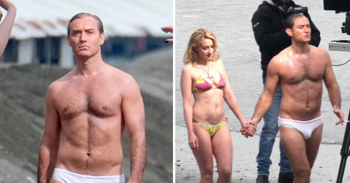 Jude Law takes a stroll in speedos on Venice beach with Ludivine Sagnier to film The New Pope