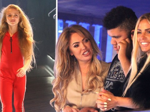 Katie Price and son Harvey proudly watch on with Aisleyne Horgan-Wallace as Princess hits the catwalk