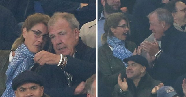 Broadcaster, Jeremy Clarkson alongside his girlfriend Lisa Hogan watching Chelsea v West Ham United from the stands at Stamford Bridge Stadium, London during the English Premier League match between Chelsea v West Ham United on 8th April 2019 at Stamford Bridge Stadium, London. Photo:Dan Weir/PPAUK.