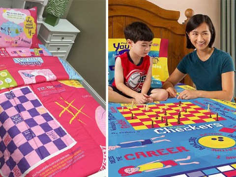 Dad creates bed sheets with board games to make children's hospital stays fun
